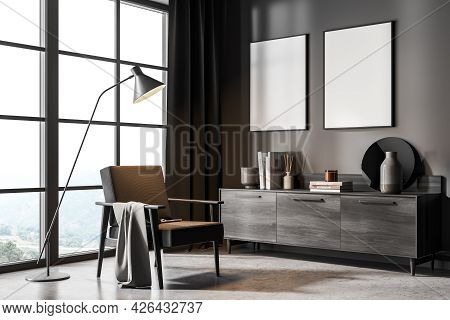 Two White Banners On The Wall Of The Living Room Interior With Dark Brown Curtains In The Corner, Gr