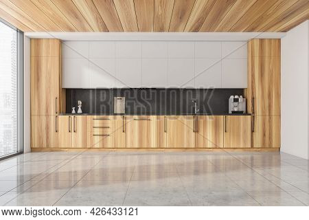 Half Wooden Panoramic Kitchen And Ceiling. White Upper Element And Right Wall. Black Splashback. Til