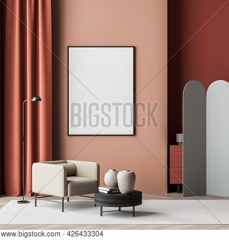 Empty Banner In The Waiting Room Interior With Two Armchairs, Dark Coffee Table, Lamp, Rug And Grey