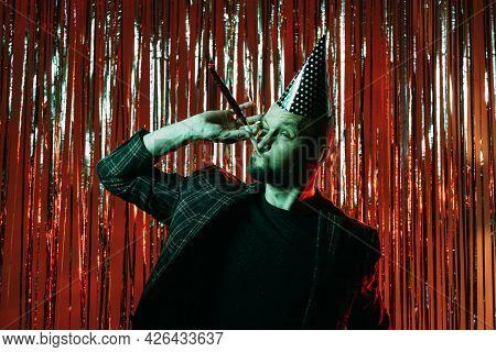 Birthday Fun. Foolish Man. Drunk Party. Holiday Mood. Ridiculous Bearded Guy Wearing Festive Hat Blo