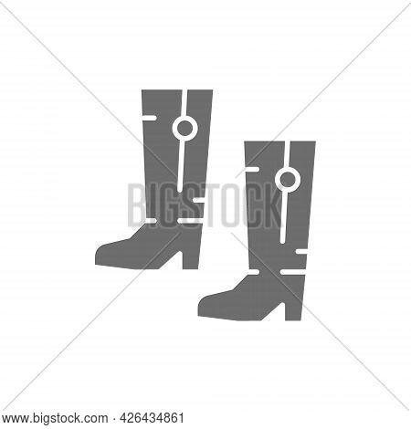 Ukrainian National Footwear, Traditional Ethnic Boots Gray Icon.