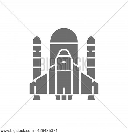 Vector Space Shuttle, Rockets, Airplane Grey Icon.