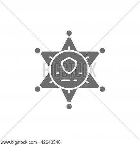 Vector Sheriff Star Badge, Police Grey Icon.