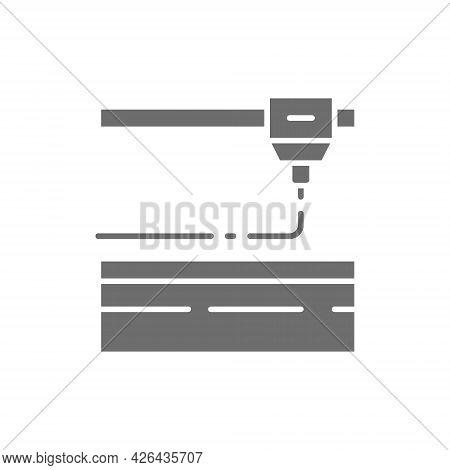 3d Printing, Laser Metal Cutting, Industrial Laser Grey Icon.