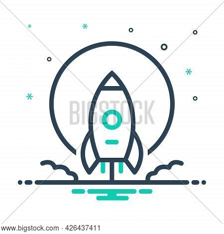 Mix Icon For Moonshot Launch Rocket Start Begin Startup Technology