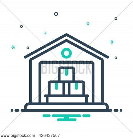 Mix Icon For Warehouse Logistics Industry Storage Interior Cargo Transportation Storehouse Distribut