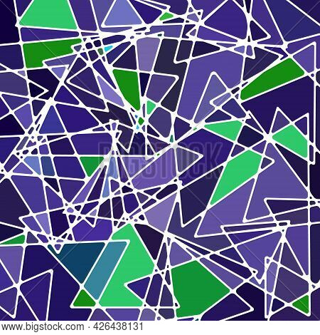 Abstract Vector Stained-glass Mosaic Background - Violet And Green