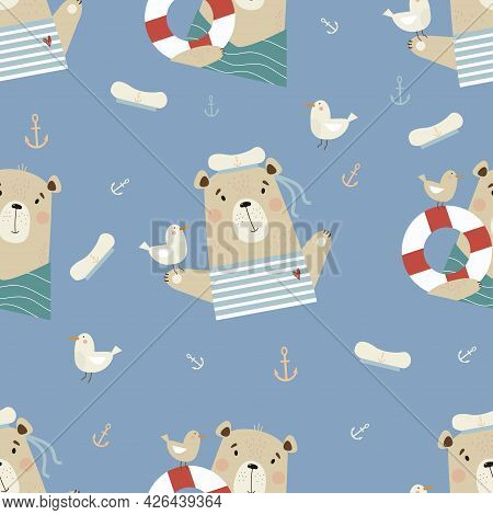Seamless Pattern With Cute Bears. Funny Sailor With Seagull And Lifebuoy On Blue Background With Sea