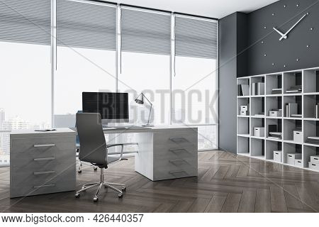 Modern Office Interior With Bright City View, Furniture, Wooden Flooring, Bookcase And Decorative It
