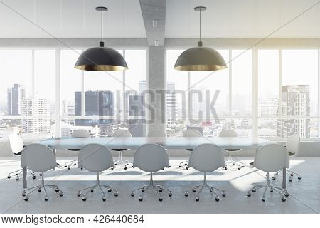 White Bright Meeting Room Interior With City View, Daylight And Furniture. Law And Legal, Workplace