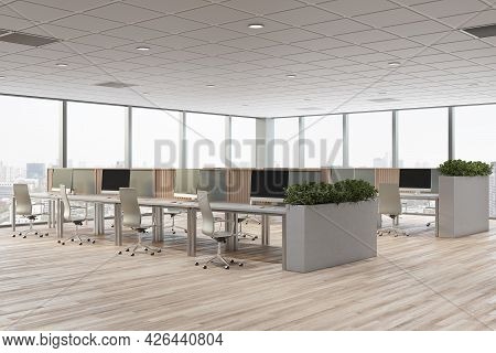 Clean Concrete Coworking Office Interior With Furniture, Window With City View And Daylight. Corpora