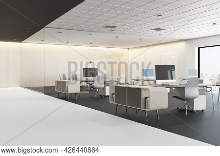 Concrete Coworking Office Interior With Furniture, Window With City View And Daylight. Corporate Con