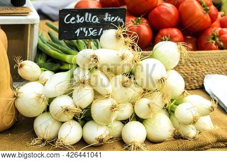 Vegetables For Sale At The Local Ecological Market In The Raval Neighborhood In Elche
