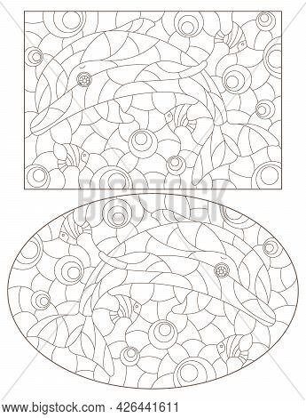 A Set Of Contour Illustrations In The Style Of A Stained Glass Window With Cute Cartoon Dolphins, Da
