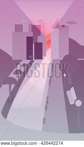 Duotone City Landscape And Rising Morning Sun. Vertical Vector Illustration In Flat Style. View From
