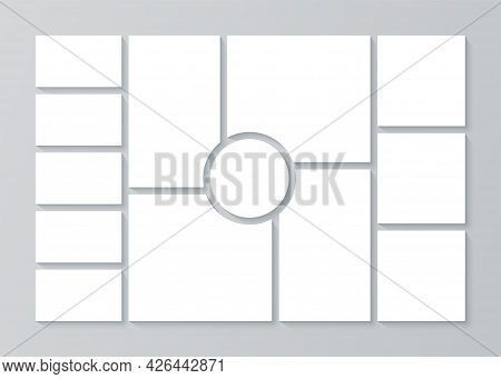 Moodboard Grid. Collage Template. Vector. Mood Board Banner. Montage Photo Images. Mosaic Pictures A