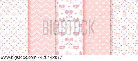 Baby Pink Seamless Patterns. Pastel Prints. Baby Shower Backgrounds. Vector. Set Of Kids Textures. C