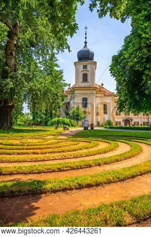 Loucen Castle - Baroque Chateau With Church Of Virgin Mary Assumption And Beautiful Landscaped Park,