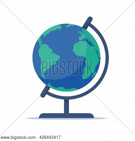 Terrestrial Globe. Globe Of Planet Earth, Flat Style Vector Illustration Isolated On White Backgroun