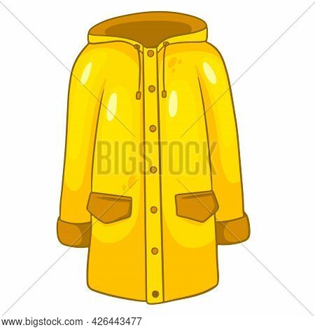 Rain Protection. Yellow Raincoat With Kormans And A Hood. Autumn Clothes.