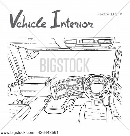 Interior Of The Truck Cab. Freehand Vector Illustration