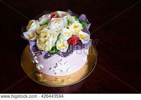 Beautiful Birthday Cake With Mastic Flowers Decor.