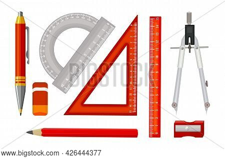 Set Of Ruler Instruments And School Equipment Isolated On White Background. Engineer Tools Collectio