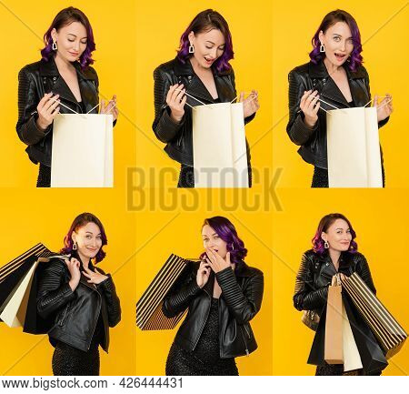 Wow Shopping. Happy Woman. Collage Portrait. Festive Discount. Hot Sale. Pretty Excited Lady Feeling