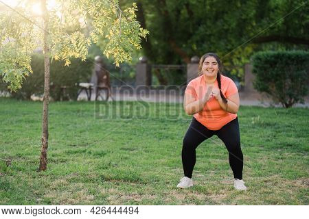 Fitness Outdoors. Weight Loss Effort. Morning Training. Body Positive. Happy Motivated Smiling Obese