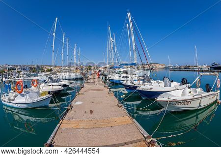 Rethymno, Crete, Greece - June 20, 2021: Rethymnon Marina With Yachts And Ships. Here Is Also One Be