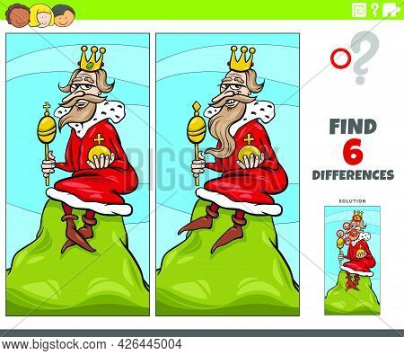 Cartoon Illustration Of Finding The Differences Between Pictures Educational Game With King Of The H