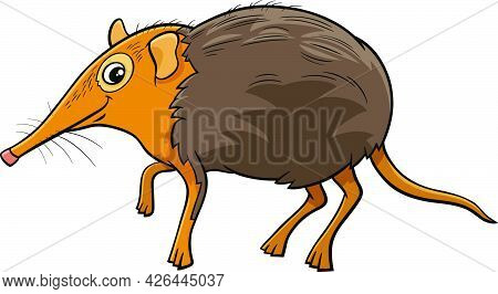 Cartoon Illustration Of Funny Elephant Shrew Comic Animal Character
