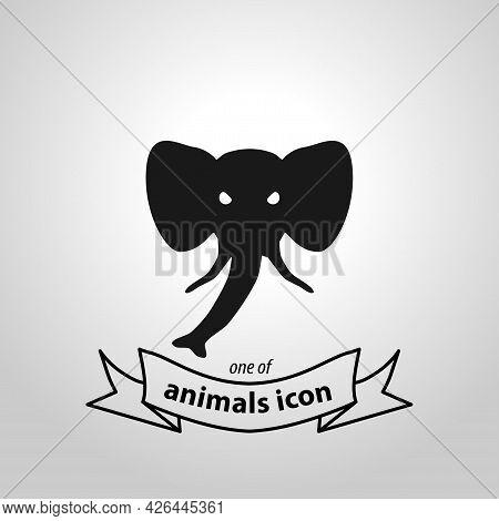 Elephant Head Sign. Elephant Isolated Simple Vector Icon
