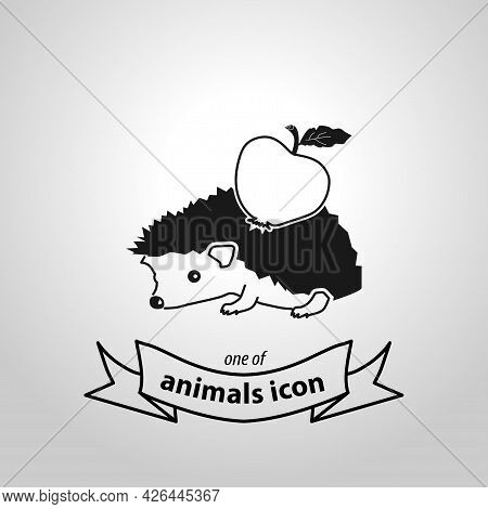 Hedgehog With Apple Sign. Hedgehog Isolated Simple Vector Icon