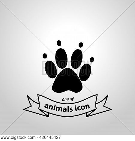 Paw Sign. Paw Isolated Simple Vector Icon