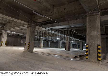 Empty Underground Parking. Free Parking Spaces. Alternative Parking. Parking For Cars Within The Cit