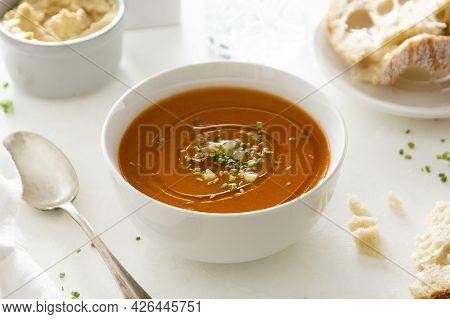 Gazpacho Soup In White Bowl, Delicious Cold Tomato Soup. Bright Background.