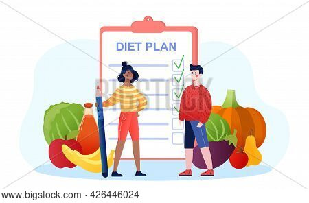 Male And Female Characters Are Making Diet Plan Together. Young Man And Woman Are Standing Next To C