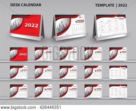 Set Desk Calendar 2022 Template Vector And Desk Calendar 3d Mockup, Calendar 2023-2024 Template Desi
