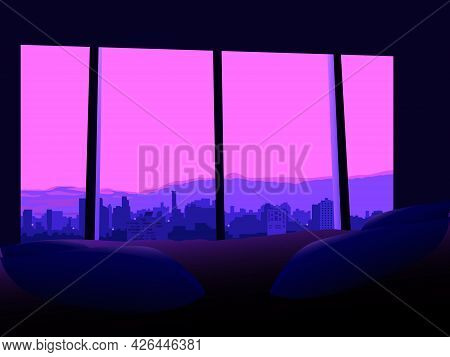 View From The Bedroom Window On The Evening City, Vector Illustration In Evening Colors For Decorati