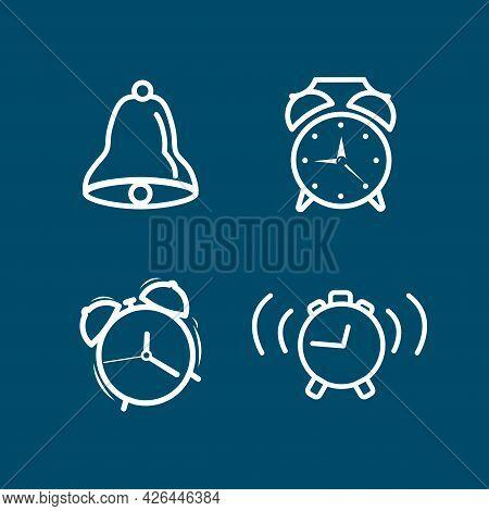 Alarm Clock Line Icon Set With Electronic Alarm Clock, Alarm Bell, Clocks. Alarm Clock Line Icon Set