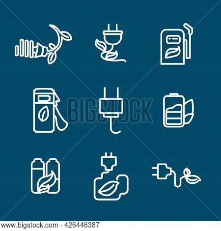 Alternative Energy Line Icon Set With, Green Leaf Battery, Car Battery, Electric Plug