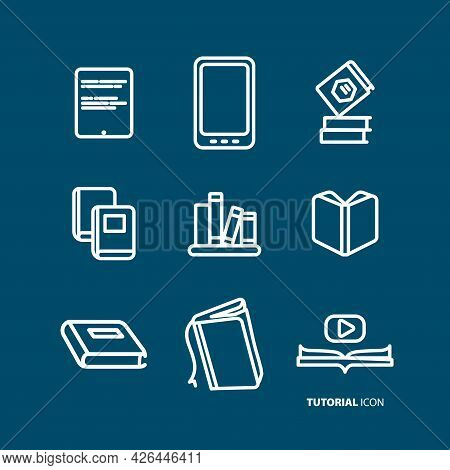 Book Line Icon Set, Open Book, Education, Electronic Book, Tutorial, Video Book. Book Line Icon Set,