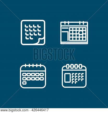 Calendar Line Icon Set With Deadline Clock, Month, Time Management, Flat Calendars. Calendar Line Ic