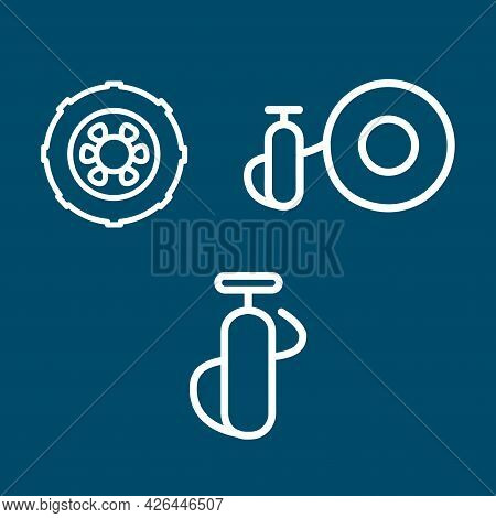 Inflate Tire, Car Wheel, Car Line Icon Set. Inflate Tire, Car Wheel, Car Line Icon Set.