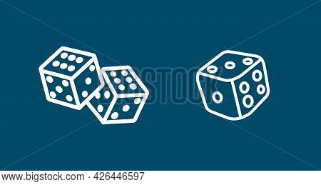 Dice Cubes Line Icon Set. Playing Dices. Dice Cubes Line Icon Set. Playing Dices.
