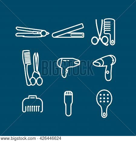 Hair Care Line Icon Set With Hairdryer, Hair Comb, Straightening Forceps, Blow Dry