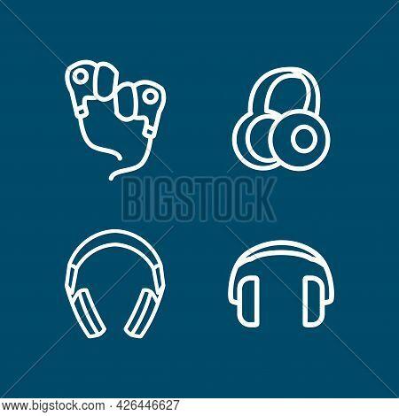 Headphone Line Icon Set With Earplugs. Headphone Line Icon Set With Earplugs.
