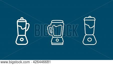 Kitchen Electrical Equipment Set With Blender Line Icon. Kitchen Electrical Equipment Set With Blend