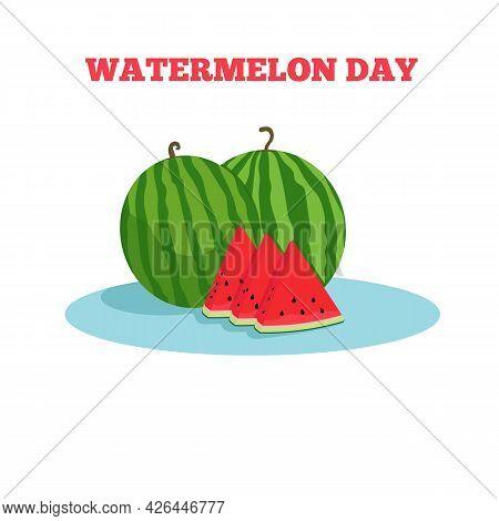 Watermelon Day. Watermelon Slice. Flat Vector Illustration